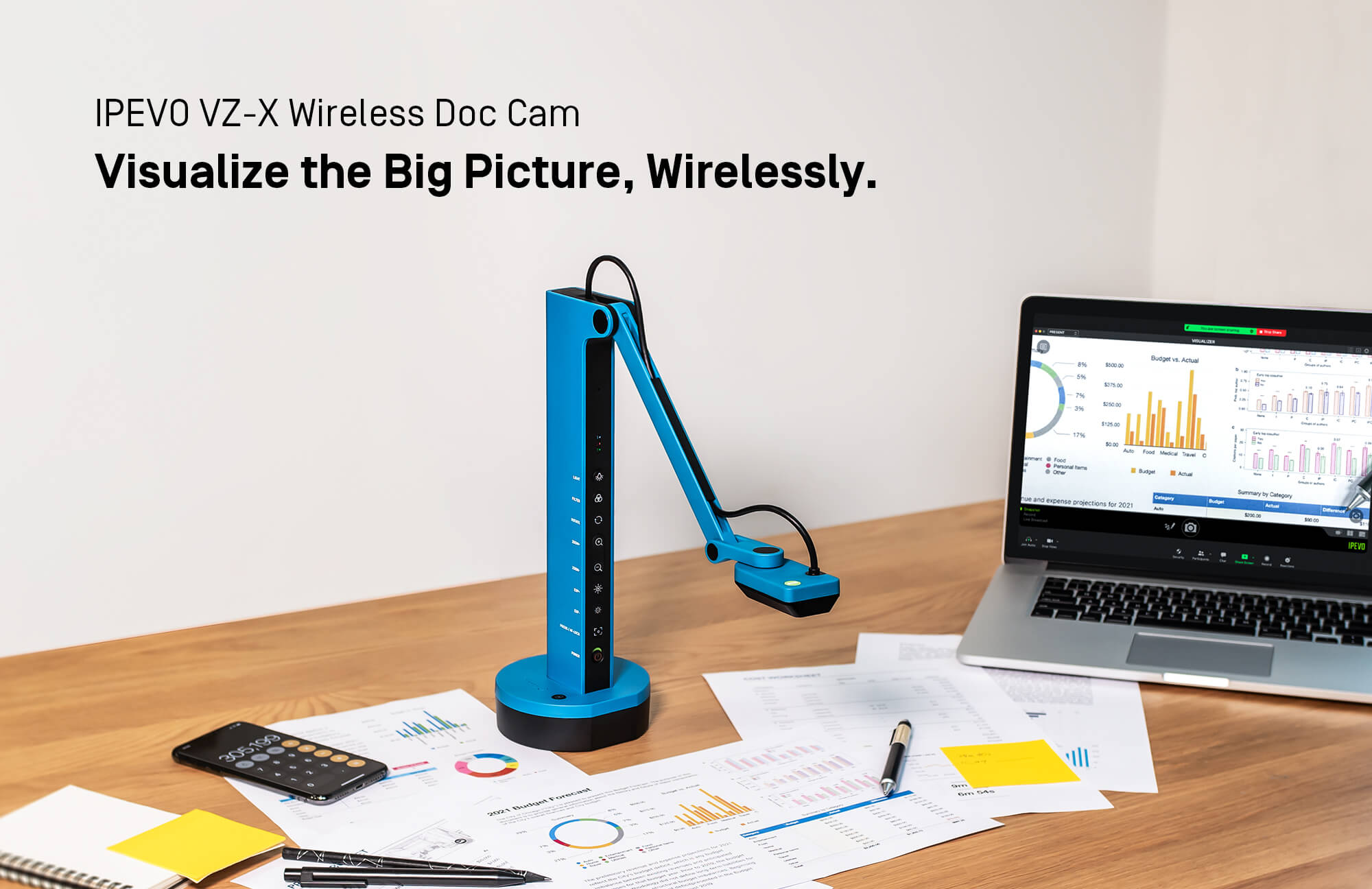 IPEVO VZ-X Wireless Doc Cam Visualize the Big Picture, Clearly, Wirelessly.